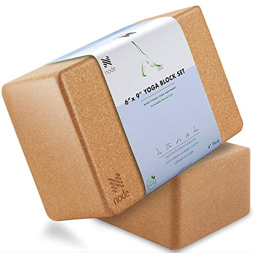 Cork Yoga Block (Set of 2) – Solid Natural Cork Exercise Brick – 9 x 6 x 4 Inches