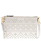 Burberry Women's Laser-Cut Lace Grained Clutch Bag Ivory