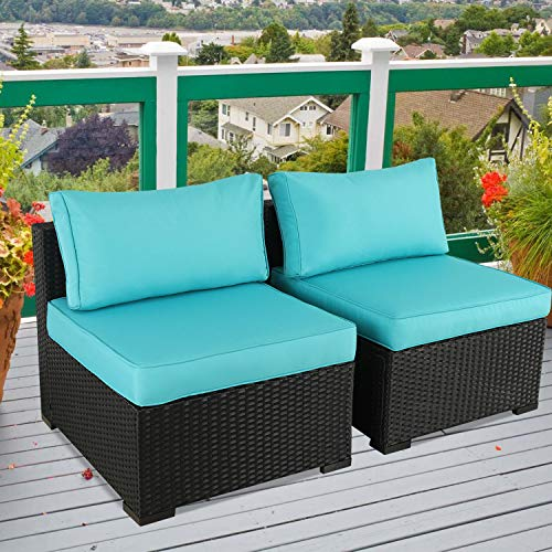 2-Seat Wicker Rattan Patio Armless Sofa - Outdoor Loveseat Sectional Sofa Chair with Turquoise Cushion,Set of 2 -