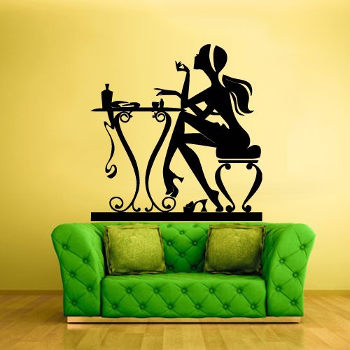 Hair Salon Wall Decal Window Sticker Barbershop Decals Haircut Salon Scissors Dryer Hair Fashion Girl Manicure Table (Z924) ()