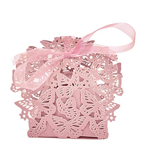 Box Wedding - 10pcs Set Romantic Wedding Favors Boxes Butterfly Diy Candy Cookie Gift Box With Ribbon Event Party - Cards Dress Favors Bubbles Rings Wedding Card Favor Clutch Candy Invitations ()