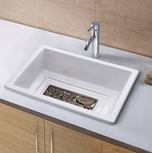 Enbol Bathroom Rectangular Porcelain Ceramic Drop-in Above Counter Wash Basin Vanity Sink, White Color With Copper Bottom Grid