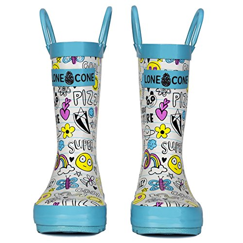 LONECONE Children's Waterproof Rubber Rain Boots in Fun Patterns with Easy-On Handles Simple for Kids, Oodles of Doodles, Toddler 8 by LONECONE (Image #3)