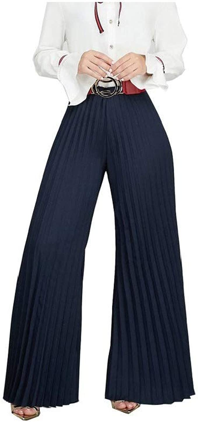 Nicellyer Women's Stretch Solid Color Loose Pleated Smocked Waist Bell Bottom Pants
