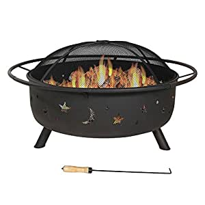 30Grandes Cosmic terraza al aire libre Fire Pit con parrilla de cocción y Spark Protector de
