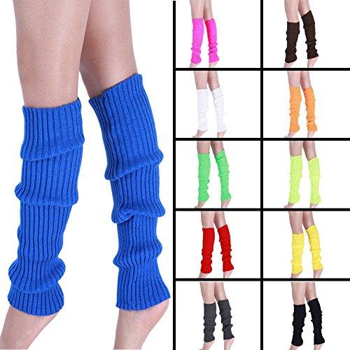 Ewandastore Candy Color Women 80s Winter Leg Warmers Knitted Wool Crochet Long Boot Socks