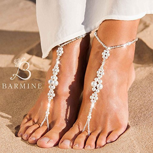 bdd70587d4b Barefoot sandals wedding Beaded Barefoot sandals Bridal foot jewelry  Crystal and Pearl Beach wedding Barefoot Sandals Bridal accessory Shoes -  Buy Online in ...