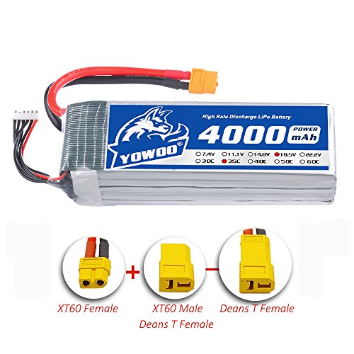 YoWoo 5S Lipo Battery 18.5V 4000mAh 35C-70C for RC Helicopter Boat Quadcopter Airplane with XT60 and Deans Style T Plug(5.31x1.65x1.73in 1.15lb) by YoWoo Power