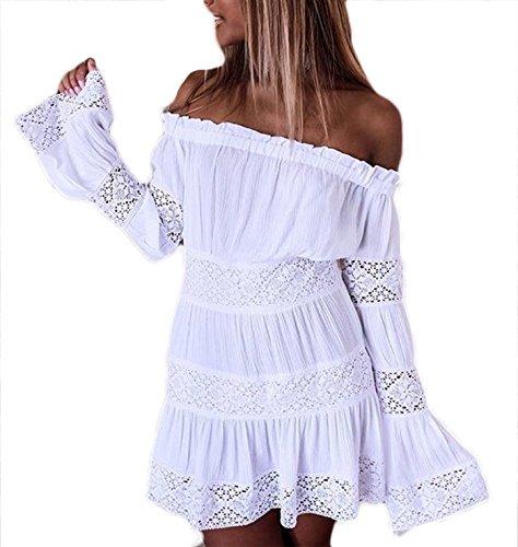4d4a4701cf8a Damen Kleid LOBTY Sommer Kurz Spitzekleid Sommerkleid Minikleid Strandkleid  Cocktailkleid Partykleid Spitze Langarm Schulterfrei Rückenfrei Knielang
