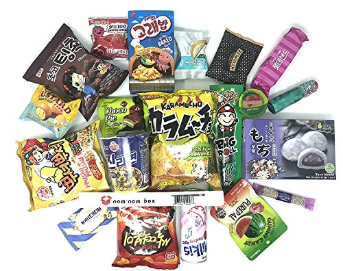 Asian Snack Box | Variety Assortment of Japanese Candy, Korean Snacks and More! | College Care Package | Gift Care Package | Nom Nom Box