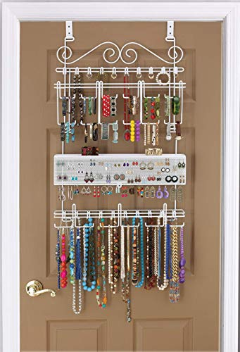 Longstem Organizers OverDoor/Wall Jewelry Organizer Rated Best Unique Patented Product White