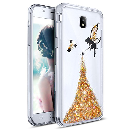 ikasus Galaxy J7 Pro Case, Ultra Thin Clear Crystal Bling Shiny Giltter Paillette Angel Rubber Frame Transparent TPU Soft Silicone Bumper Case Cover for Samsung Galaxy J7 Pro (2017) ()