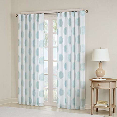 Aqua Sheer Curtains for Bedroom, Yakima Medallion Rod Pocket Sheer Curtain for Living Room Family Room, Polyester Casual Back Tab Curtain sheers, 50X84, 1-Panel Pack