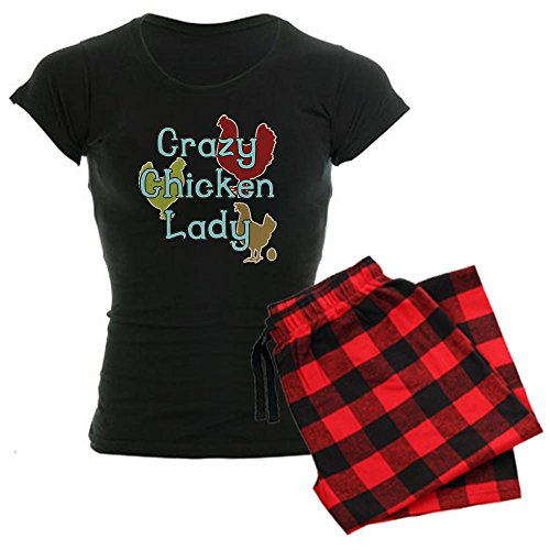 CafePress Crazy Chicken Lady Women's Dark Pajamas - Womens Novelty Cotton Pajama Set, Comfortable PJ Sleepwear - Flannel Crazy Pajamas