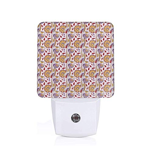 - Colorful Plug in Night,Persian Paisley Motifs and Leaves with Traditional Eastern Asian Culture Motifs,Auto Sensor LED Dusk to Dawn Night Light Plug in Indoor for Childs Adults