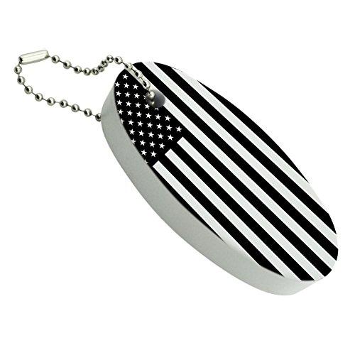 Subdued Reverse American USA Flag Black White Military Tactical Floating Foam Keychain Fishing Boat Buoy Key Float
