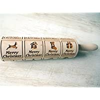 Rolling pin CHRISTMAS WINDOWS. Wooden embossing rolling pin with CHRISTMAS WINDOWS pattern. Embossed cookies. Pottery.