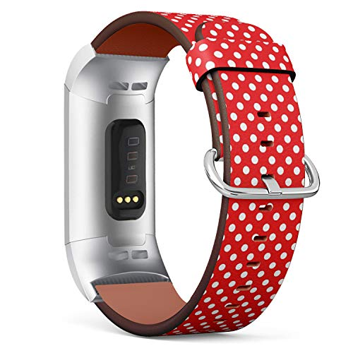 Compatible with Fitbit Charge 3 / Charge 3 SE - Leather Watch Wrist Band Strap Bracelet with Stainless Steel Clasp and Adapters (White Polka Dot Red)