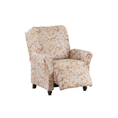 - Collections Etc Two-Toned Paisley Stretch Knit Furniture Slipcover, Classic Living Room Decor - Machine Washable, Sand, Recliner