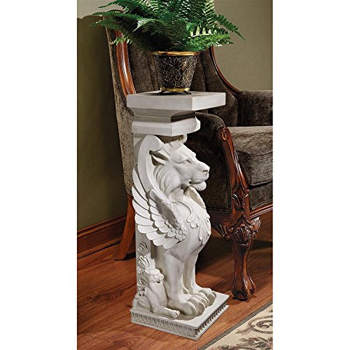 Design Toscano Trapezophoron Winged Lion Pedestal Column Plant Stand, 31 Inch, Polyresin, Antique Stone