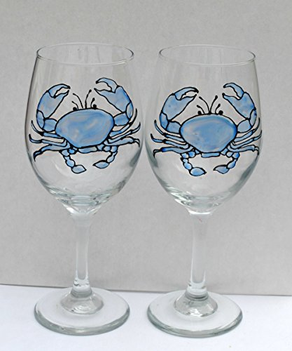 (Blue Crab Hand Painted Stained Glass 20 oz Stemmed Wine Glasses (Set of 2) Nautical Decor)