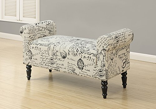 Monarch Traditional Style Vintage French Fabric Bench, 44