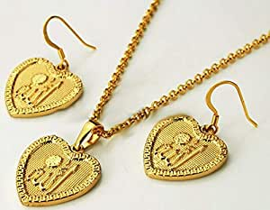 18k Gold Plated Heart Design High Fashionable Muslim Allah Symbol Necklace with Earring jewelry Set