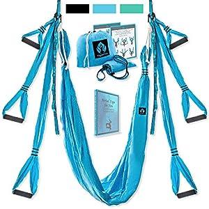 Aerial Yoga Swing Set – Yoga Hammock Swing – Trapeze Yoga Kit + Extension Straps & eBook – Wide Flying Yoga Inversion Tool – Antigravity Ceiling Hanging Yoga Sling – Women Men Kids Arial Acro