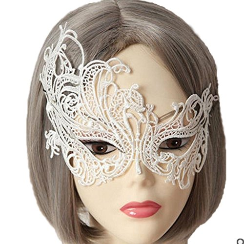Rehot White Black Lace Masquerade Masks for Party Prom Ball Mardi Gras Halloween Christmas Women (White) ()