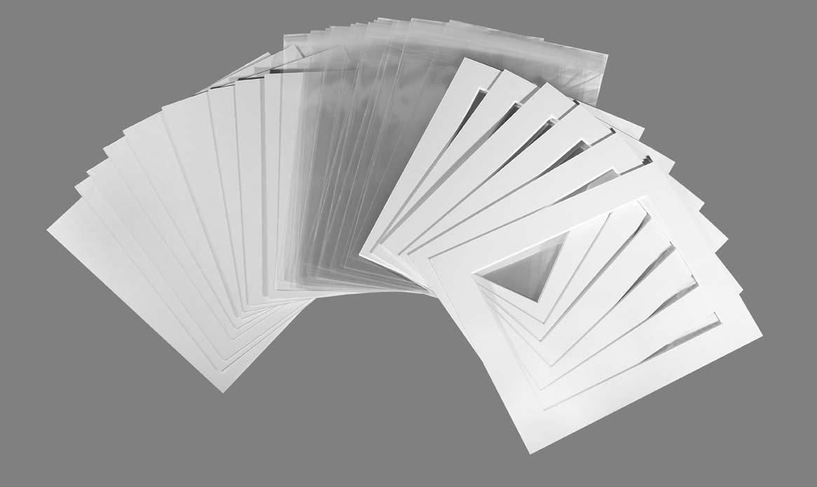 Pannelli per cornici fotografiche, confezione da 20 pezzi, schienali e bustine trasparenti, con struttura bianco ghiaccio (bianco sporco), Off White, 6x8 To Fit 6x4 Kadinsky Art