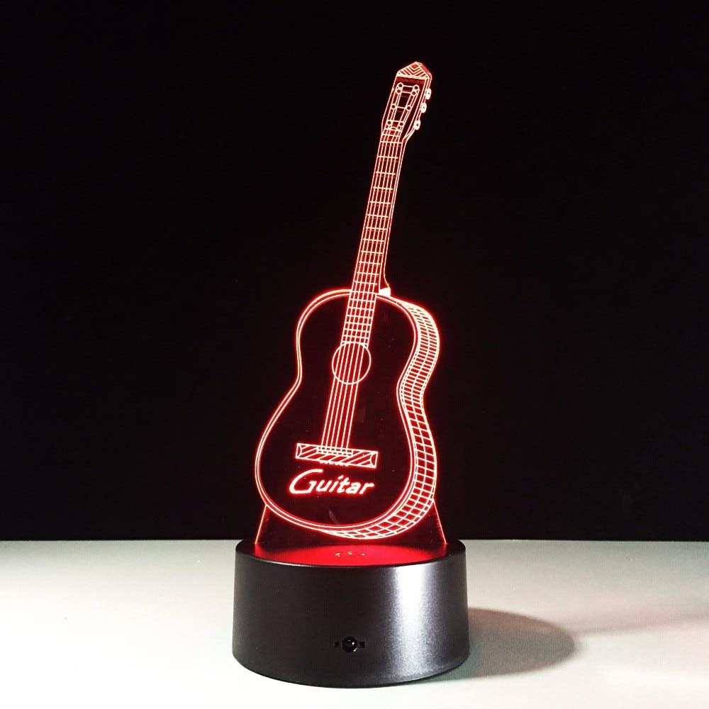 HeroStore Guitar Shape Music Fans 3D Illusion LED Night Light 7 Color Creative Touch Switch USB Powered Desk Table Lava Lamp Bedside Decor