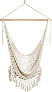 Chihee Hammock Chair Large Hammock Chair Relax Hanging Swing Chair Cotton Weave for Superior Comfort Durability Perfect for Indoor/Outdoor Home Bedroom Patio Deck Yard Garden (Weaving Hanging Chair)
