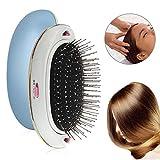Pawaca Mini Ionic Hair Brush, Electric Ionic Hairbrush, Massage Hair Comb - Anti-Static Flat Detangler Brush for Hair Styling, Blow Drying, Straightening