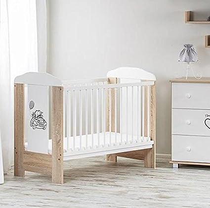 Cuna de madera para bebé de 120 x 60 cm en color marrón oscuro con ...