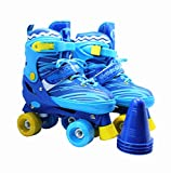 WiiSHAM Fun Roll Adjustable Canvas Roller Skates With Four Piles… (Blue and Yellow, small)