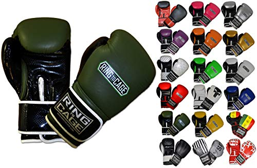 Ring to Cage Gym Training Stand-Up Boxing Gloves (Military Green/Black, Regular Weighs 12oz)
