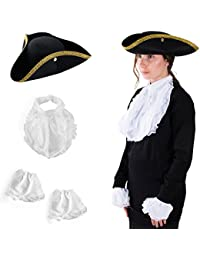 Colonial Style Tricorn Hat - Revolutionary War Deluxe Colonial Tricorn Hat