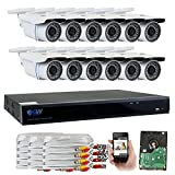 GW Security 16 Channel CCTV 5MP (2.5X 1080P) Security Surveillance DVR System with 12 x Super 5.0MP HD 1920p (2592TVL) Weatherproof Security Cameras,110ft IR Night Vision,4TB HDD For Sale