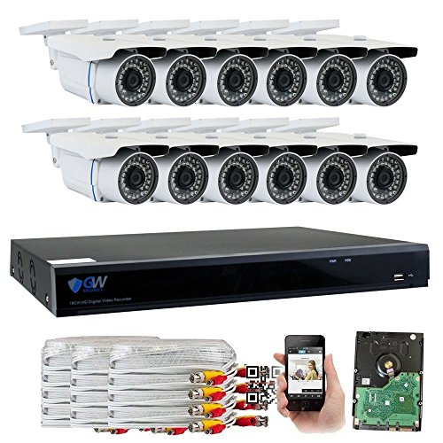 GW Security 16 Channel CCTV 5MP (2.5X 1080P) Security Surveillance DVR System with 12 x Super 5.0MP HD 1920p (2592TVL) Weatherproof Security Cameras,110ft IR Night Vision,4TB HDD