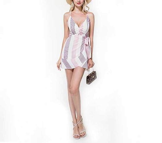 MTG@N el Verano Vestido,Corbata Impresión a Rayas Sexy Volante ...