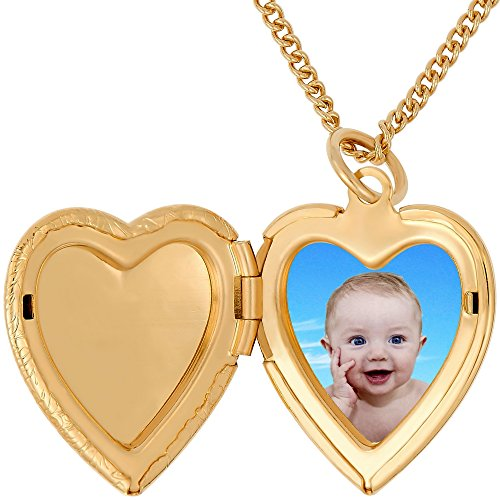 Lifetime Jewelry Heart Locket Necklace, Antique, 24K Gold Over Semi Precious Metals, Guaranteed for Life (Choice of Pendant with or Without Chain) (Gold Locket & Chain) by Lifetime Jewelry (Image #5)