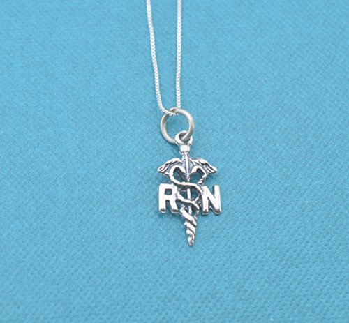 RN charm pendant in sterling silver on sterling silver 18 Box Chain. Gift for Nurse. Nurse gift. Nurse graduation gift.
