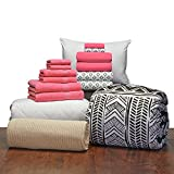 16 Piece Starter Pak Deep Pink Leilani Twin XL College Dorm Bedding and Bath Set