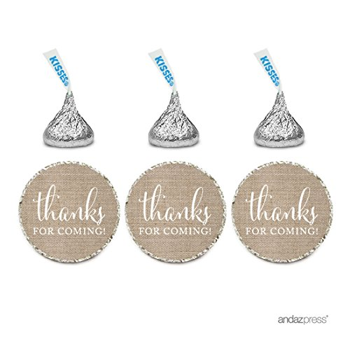 Andaz Press Chocolate Drop Labels Stickers, Thanks for Coming!, Burlap Print, 216-Pack, for Wedding Birthday Party Baby Bridal Shower Hershey's Kisses Party Favors Decor Envelope Seals