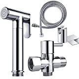 Toilet Bidet Combo REEGE Handheld Bidet Sprayer for Toilet Set-Premium Brass Hand Bidet Toilet Attachment Kit-Cloth Diaper Sprayer Combo with T Valve and Hose
