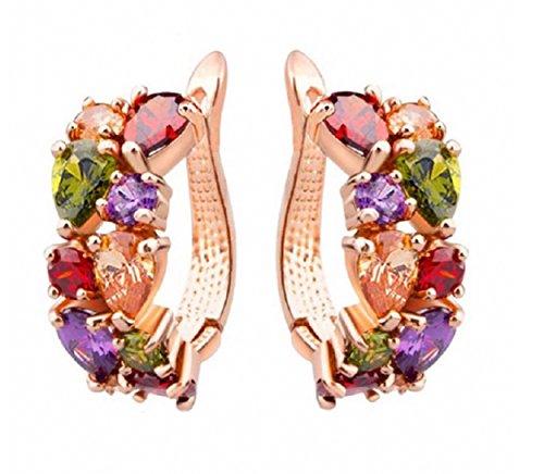 Mona Lisa Jewelry Rose Gold Plated Multi Color Elements Crystal Fashion Bridal Hoop Earrings Suit Big Earlobe- Hypoallergenic Lead Free -