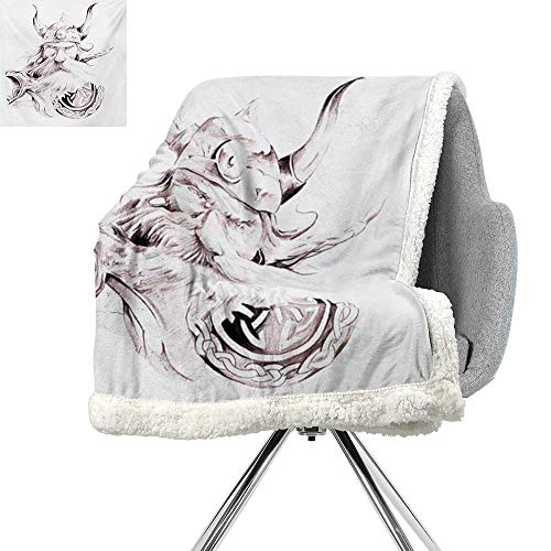ScottDecor Tattoo Berber Fleece Blanket,Wise Old and Brave Viking Warrior with his Long White Beard and Armour Print,Dried Rose White,Print Summer Quilt Comforter W59xL47 Inch ()