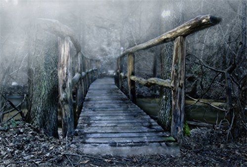 AOFOTO 7x5ft Ancient Log Bridge Backdrops Spooky Forest Photo Shoot Background Vintage Gothic Rustic Gloomy Woods Scary Scene Photography Studio Props Girl Boy Artistic Portrait Digital Video (Spooky Photo)