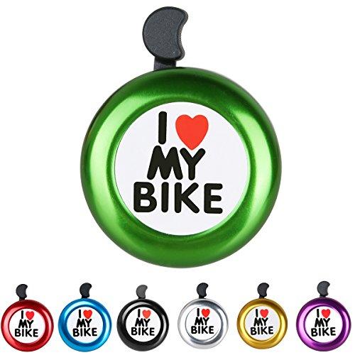 AD Green I Like My Bike Bell - Bicycle Bell - Loud Aluminum Bike Horn Ring Mini Bike Accessories for Adults Men Women Kids Girls Boys Bikes