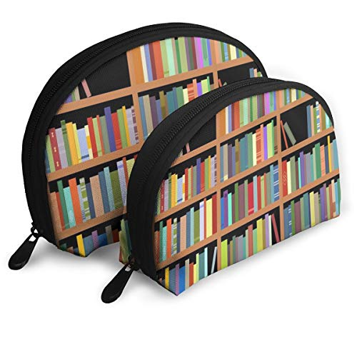 Makeup Bag Bookshelves With Books Clipart Portable Shell Pouch For Women Halloween Gift 2 -